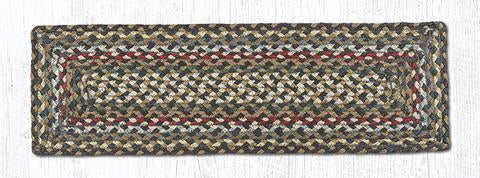 "Capitol Earth Rugs Braided Jute Stair Tread, 8.5"" x 27"" Rectangle, Fir/Ivory"
