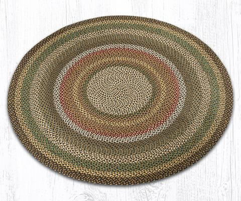 Fir/Ivory Traditional Braided Rugs - Oval, Rectangle, or Round