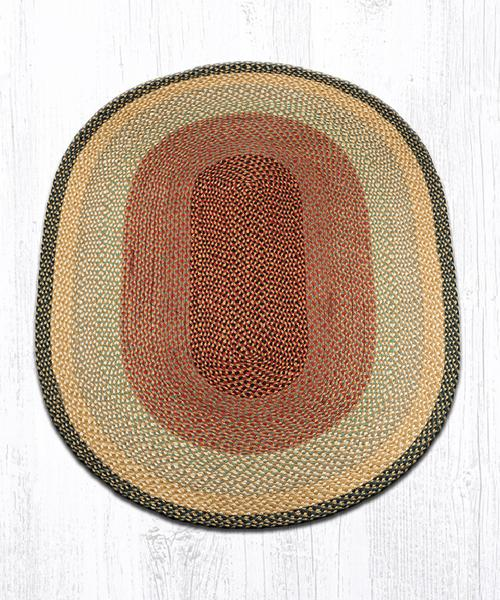 Burgundy/Grey/Cream Traditional Braided Rugs - Oval Only