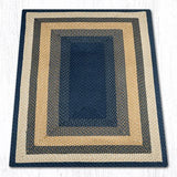 Capitol Earth Rugs Dark & Light Blue/Mustard Traditional Oblong Braided Rug