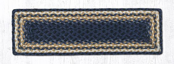 "Capitol Earth Rugs Braided Jute Stair Tread, 8.5"" x 27"" Rectangle, Light & Dark Blue/Mustard"