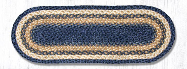 "Capitol Earth Rugs Braided Jute Table Runner, 13"" x 36"", Color: Light & Dark Blue/Mustard"