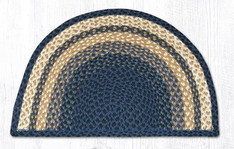 "Capitol Earth Rugs Braided Jute Slice Rug, 18"" x 29"", Light & Dark Blue/Mustard"