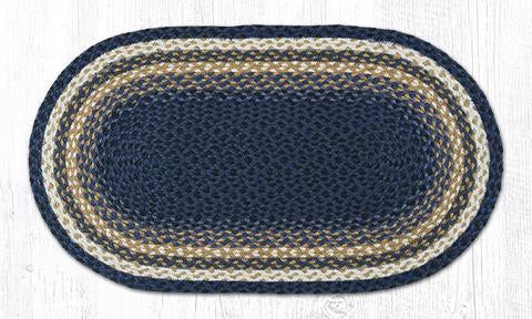 "Capitol Earth Rugs Dark & Light Blue/Mustard Traditional Braided Rug, 20"" x 36"""