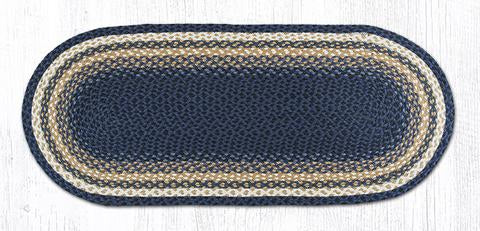 "Capitol Earth Rugs Dark & Light Blue/Mustard Traditional Braided Rug, 20"" x 48"""
