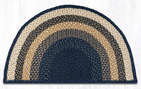 "Capitol Earth Rugs Braided Jute Slice Rug, 24"" x 39"", Light & Dark Blue/Mustard"