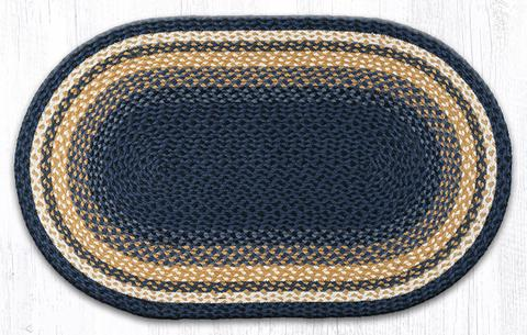 "Capitol Earth Rugs Dark & Light Blue/Mustard Traditional Braided Rug, 27"" x 45"""
