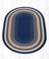 Capitol Earth Rugs Dark & Light Blue/Mustard Traditional Braided Rug