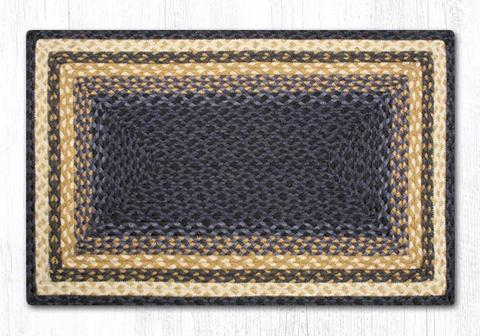 "Capitol Earth Rugs Dark & Light Blue/Mustard Traditional Oblong Braided Rug, 20"" x 30"""