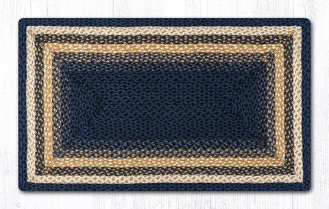 "Capitol Earth Rugs Dark & Light Blue/Mustard Traditional Oblong Braided Rug, 27"" x 45"""