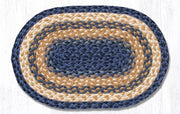 "Capitol Earth Rugs Braided Jute Placemats 13"" x 9"", Color: Light & Dark Blue/Mustard"