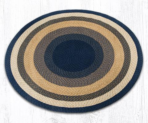 Capitol Earth Rugs Dark & Light Blue/Mustard Traditional Round Braided Rug,