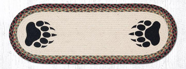 "Capitol Earth Rugs Bear Paws Printed Table Runner, 13"" x 36"" Oval"