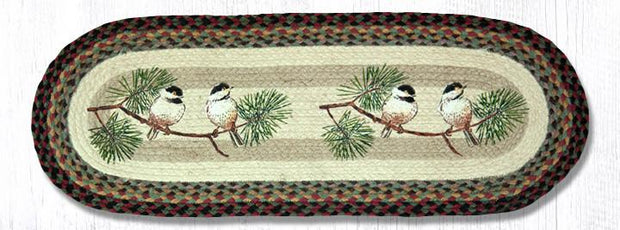 "Capitol Earth Rugs Chickadees Printed Table Runner, 13"" x 36"" Oval"
