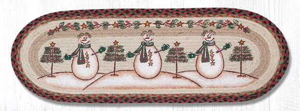 "Capitol Earth Rugs Moon & Star Snowman Printed Table Runner, 13"" x 36"" Oval"