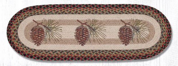 "Capitol Earth Rugs Pinecone Printed Table Runner, 13"" x 36"" Oval"
