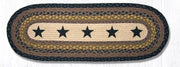 "Capitol Earth Rugs Black Stars Printed Jute Table Runner, 13"" x 36"" Oval"
