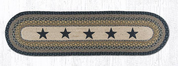 "Capitol Earth Rugs Black Stars Printed Jute Table Runner, 13"" x 48"" Oval"