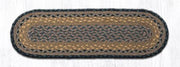 "Capitol Earth Rugs Braided Jute Stair Tread, 8.25"" x 27"" Oval, Brown/Black/Charcoal"