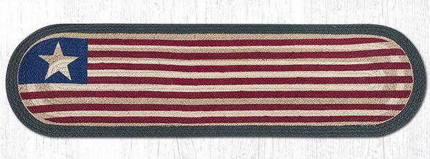 "Capitol Earth Rugs Original Flag Printed Jute Table Runner, 13"" x 48"" Oval"