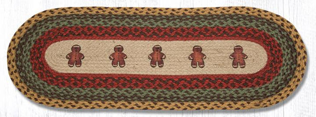 "Capitol Earth Rugs Gingerbread Men Printed Jute Table Runner, 13"" x 36"" Oval"