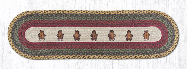 "Capitol Earth Rugs Gingerbread Men Printed Jute Table Runner, 13"" x 48"" Oval"