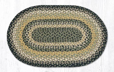 "Capitol Earth Rugs Black/Mustard/Cream Traditional Braided Rug, Oval 20"" x 30"""