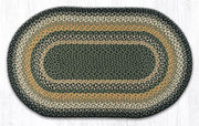 "Capitol Earth Rugs Black/Mustard/Cream Traditional Braided Rug, Oval 27"" x 45"""