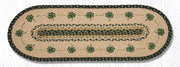 "Capitol Earth Rugs Shamrock Printed Jute Table Runner, 13"" x 36"" Oval"