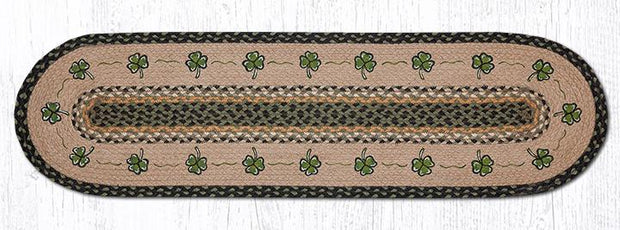 "Capitol Earth Rugs Shamrock Printed Jute Table Runner, 13"" x 48"" Oval"