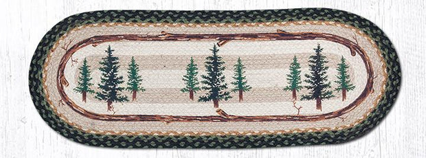"Capitol Earth Rugs Tall Timbers Printed Table Runner, 13"" x 36"" Oval"