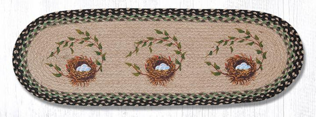 "Capitol Earth Rugs Robin's Nest Printed Table Runner, 13"" x 36"" Oval"