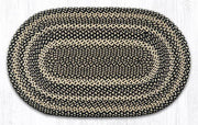 "Capitol Earth Rugs Ebony/Ivory/Chocolate Traditional Braided Rug, Oval 27"" x 45"""