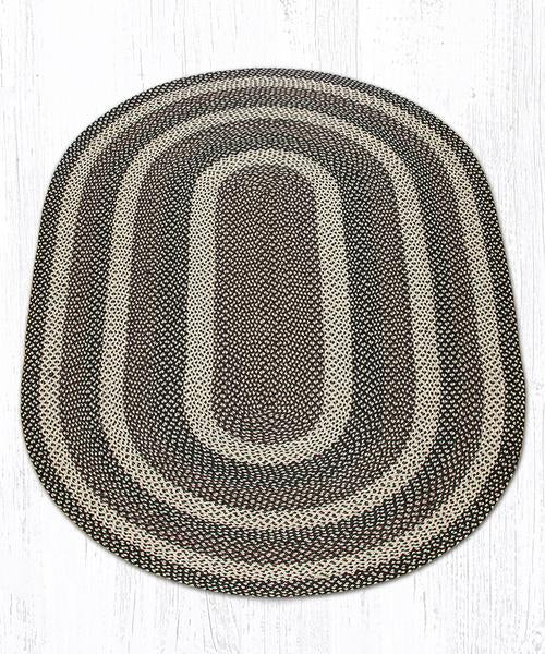Capitol Earth Rugs Ebony/Ivory/Chocolate Traditional Braided Rug, Oval 5' x 8'