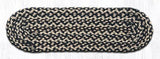 "Capitol Earth Rugs Braided Jute Stair Tread, 8.25"" x 27"" Oval, Ebony/Ivory/Chocolate"