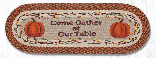 "Capitol Earth Rugs Come Gather Printed Table Runner, 13"" x 36"" Oval"
