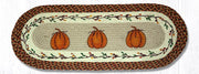 "Capitol Earth Rugs Harvest Pumpkin Printed Jute Table Runner, 13"" x 36"" Oval"