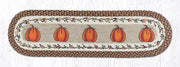 "Capitol Earth Rugs Harvest Pumpkin Printed Jute Table Runner, 13"" x 48"" Oval"