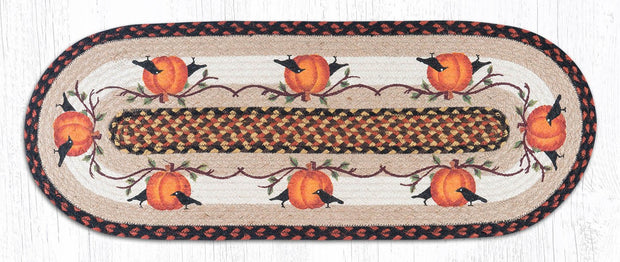 "Capitol Earth Rugs Pumpkin Crow Printed Table Runner, 13"" x 36"" Oval"