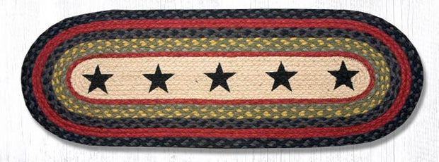 "Capitol Earth Rugs Black Stars Printed Jute Table Runner, 13"" x 36"""
