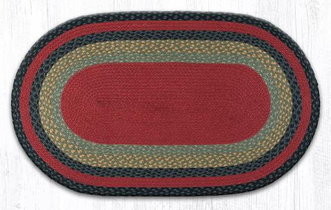 "Capitol Earth Rugs Burgundy/Olive/Charcoal Traditional Braided Rug, Oval 27"" x 45"""