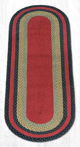 Capitol Earth Rugs Burgundy/Olive/Charcoal Traditional Braided Rug, Oval 2' x 6'
