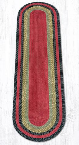 Capitol Earth Rugs Burgundy/Olive/Charcoal Traditional Braided Rug, Oval 2' x 8'