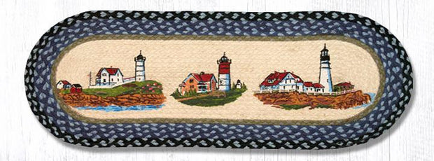 "Capitol Earth Rugs Three Lighthouses Printed Table Runner, 13"" x 36"" Oval"