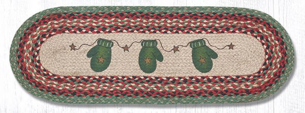 "Capitol Earth Rugs Mittens Printed Table Runner, 13"" x 36"" Oval"