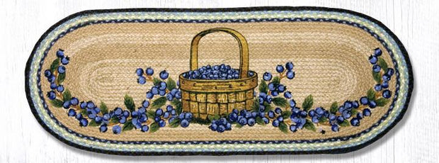 "Capitol Earth Rugs Blueberry Basket Printed Table Runner, 13"" x 36"" Oval"
