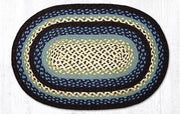 "Capitol Earth Rugs Blueberry/Cream Traditional Braided Rug, Oval 20"" x 30"""