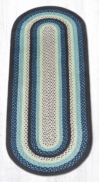 Capitol Earth Rugs Blueberry/Cream Traditional Braided Rug, Oval 2' x 6'