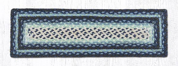 "Capitol Earth Rugs Braided Jute Stair Tread, 8.5"" x 27"" Rectangle, Blueberry/Cream"