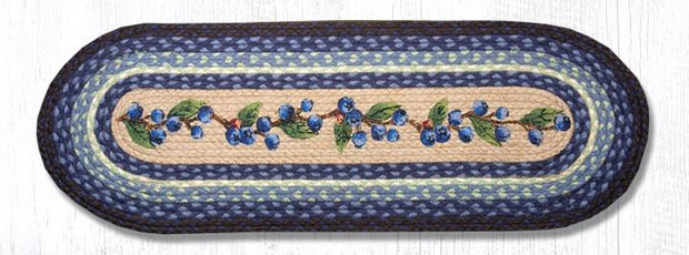 "Capitol Earth Rugs Blueberry Vine Printed Table Runner, 13"" x 36"" Oval"